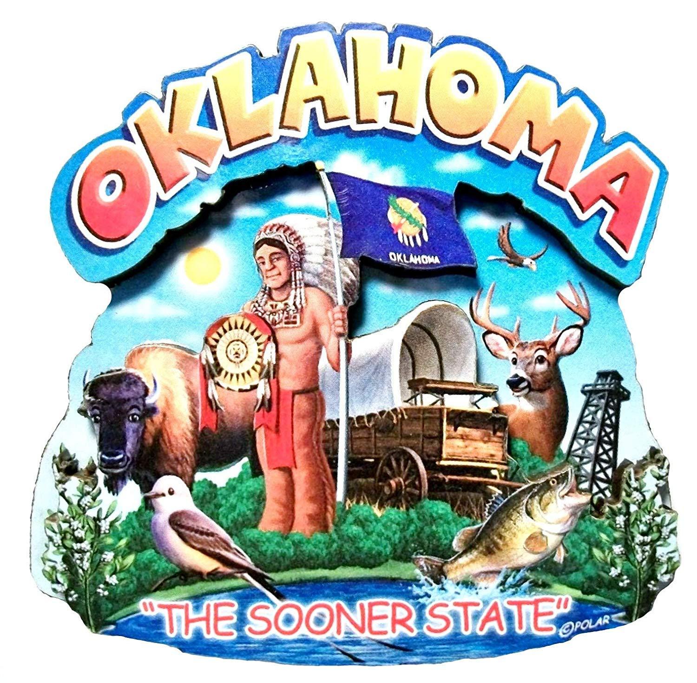 Oklahoma State Montage Wood Fridge Magnet 2