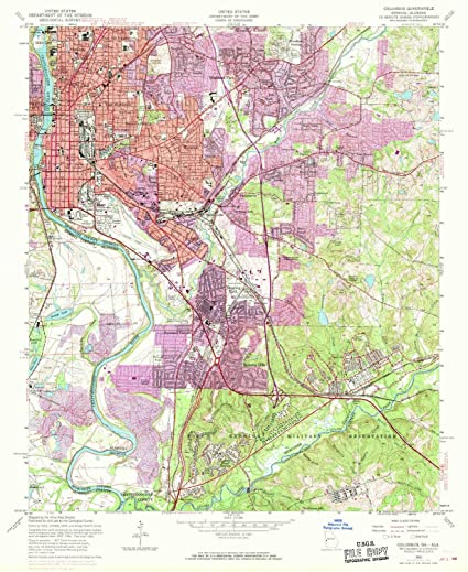 Map Of Columbus Georgia.Amazon Com Yellowmaps Columbus Ga Topo Map 1 24000 Scale 7 5 X