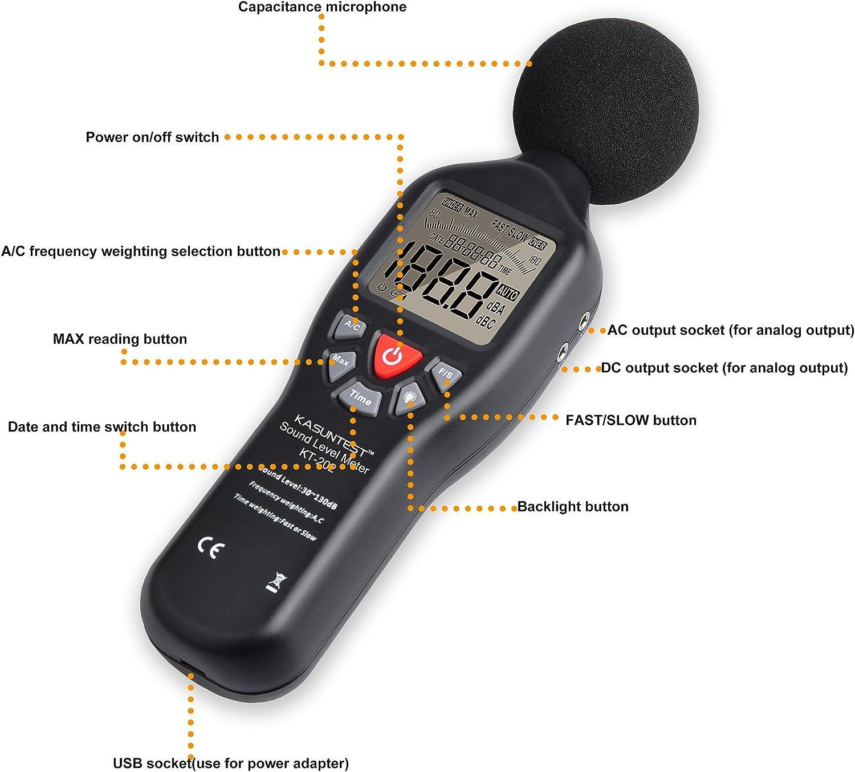 KASUNTEST Professionelles Schallpegelmessger/ät mit gro/ßem LCD-Display und Hintergrundbeleuchtung Bereich: 30 bis 130 dB digitaler Ger/äuschpr/üfer