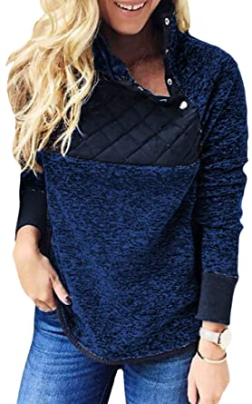ECOWISH Damen Sweatshirt Gr. Medium, Marineblau  Amazon.de  Bekleidung 3cdc554cea