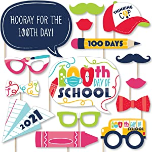 Big Dot of Happiness 100 Days 2021 - 100th Day of School Party Photo Booth Props Kit - 20 Count