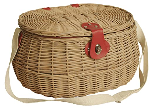 Wald Imports 4098 Willow Picnic Basket with Red Plaid Fabric