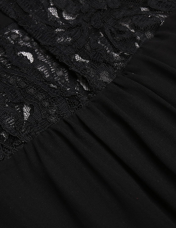 Women Halter Chiffon Dress Lace Mesh Patchwork Sleeveless ...
