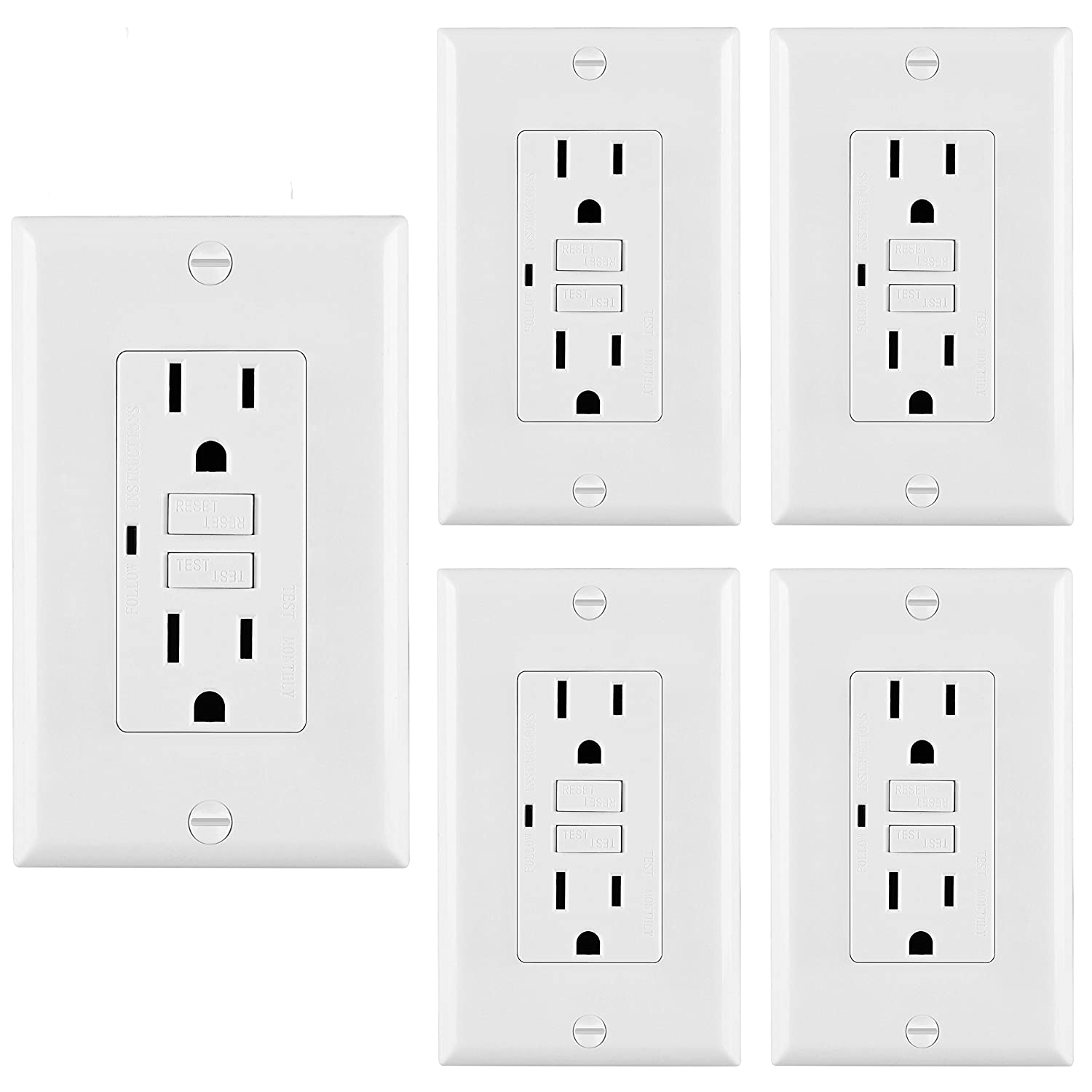 5 Pack Bestten Self Test Gfci Receptacle Outlet With Led Power Wiring Diagram As Well Internal On 3 Phase Indicator 15a125v 1875w Decorator Wall Plate Included Auto Function Ul Certified