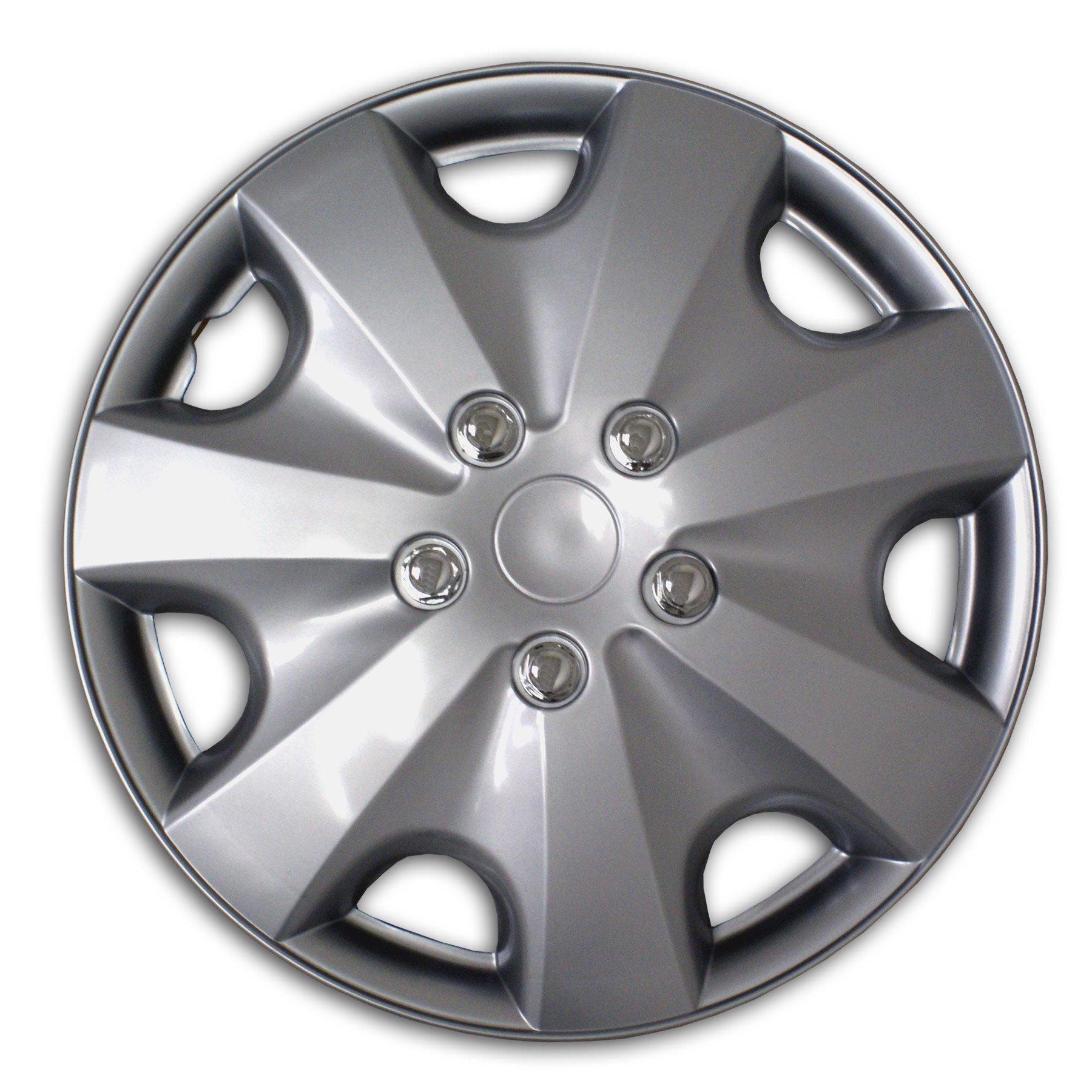 TuningPros WSC2-051S16 Hubcaps Wheel Skin Cover Type 2 16-Inches Silver Set of 4 by TuningPros (Image #1)