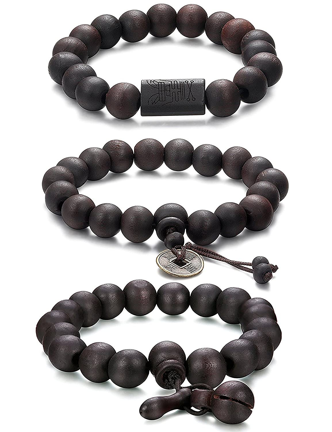 Jstyle 11mm Wood Bead Bracelet Men Women Tibetan Buddhist Prayer Link Cool EU4010