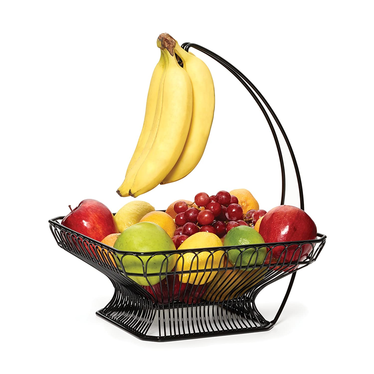 Amazon.com: Gourmet Basics By Mikasa Countryside Fruit Basket With Banana  Hook, Antique Black: Kitchen U0026 Dining