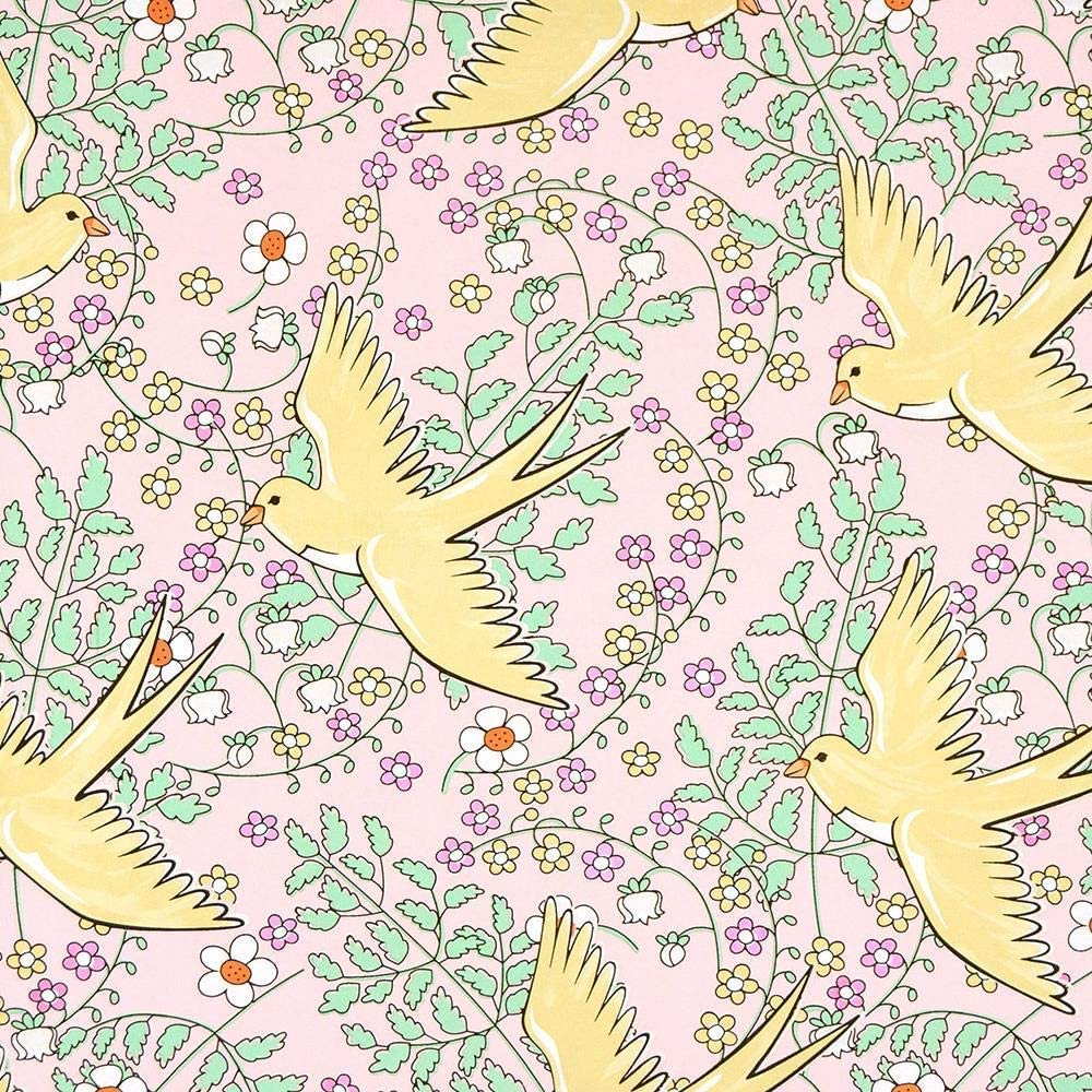 359021 Rice Floral Birds Yellow Green Red Eijffinger Wallpaper