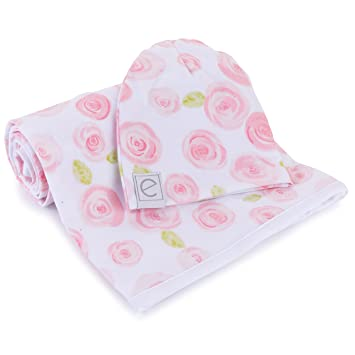 cf7966c8d Cotton Knit Jersey Swaddle Blanket and Beanie Gift Set, Large Receiving  Blanket - Rose Print