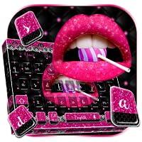 Glitter Pink Lips Keyboard Theme