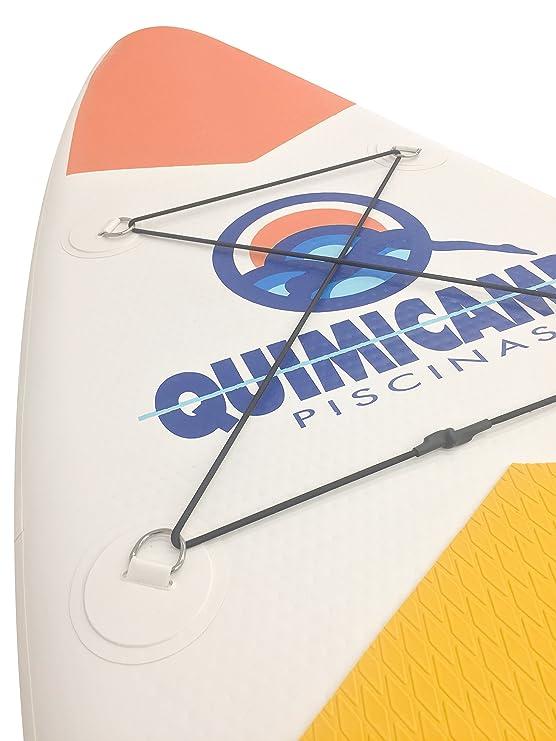 QUIMICAMP - Tabla de Paddle Surf hinchable, 15cm de espesor, incluye remo, bolsa de transporte, hinchador y kit de preparación/reparación