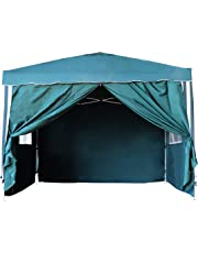 3x3m Pop-up Canopy Tent Heavy Duty Gazebo Pavilion Outdoor Party Commercial Instant Tents Impact Canopies with 4 Removable SideWalls, Perfect for Garden, Patio, Barbecue Parties (4 sides, Green)