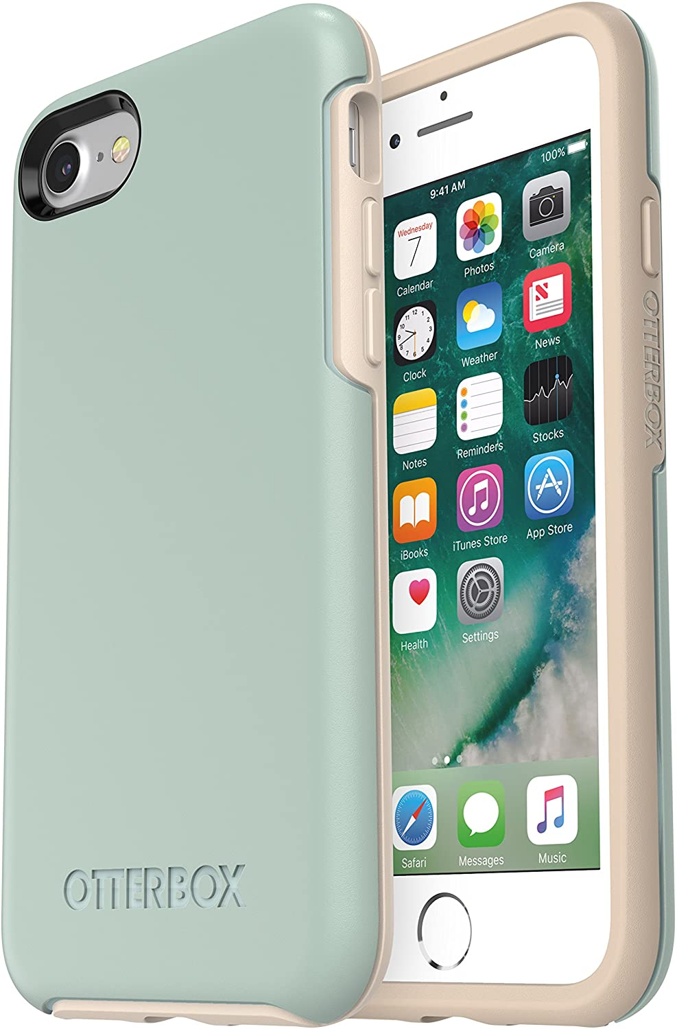 OtterBox SYMMETRY SERIES Case for iPhone SE (2nd gen - 2020) and iPhone 8/7 (NOT PLUS) - Frustration Free Packaging - MUTED WATERS (SURF SPRAY/SILVER LINING)