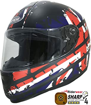 Viper rs-250 Unión Jack Moto Moto Full Face casco, Scooter nuevo y pasamontañas