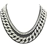 Pyramid Jewelers Mens Iced Out Hip Hop Silver Tone CZ Miami Cuban Link Chain Choker Necklace