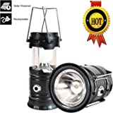ZOZGETU Camping Lantern, Rechargeable Solar Led Camping Lantern Ultra Bright & Portable Outdoor Lantern Flashlight for Emergency,Hurricanes,Power Outage,Storm (Black, 1 Pack)