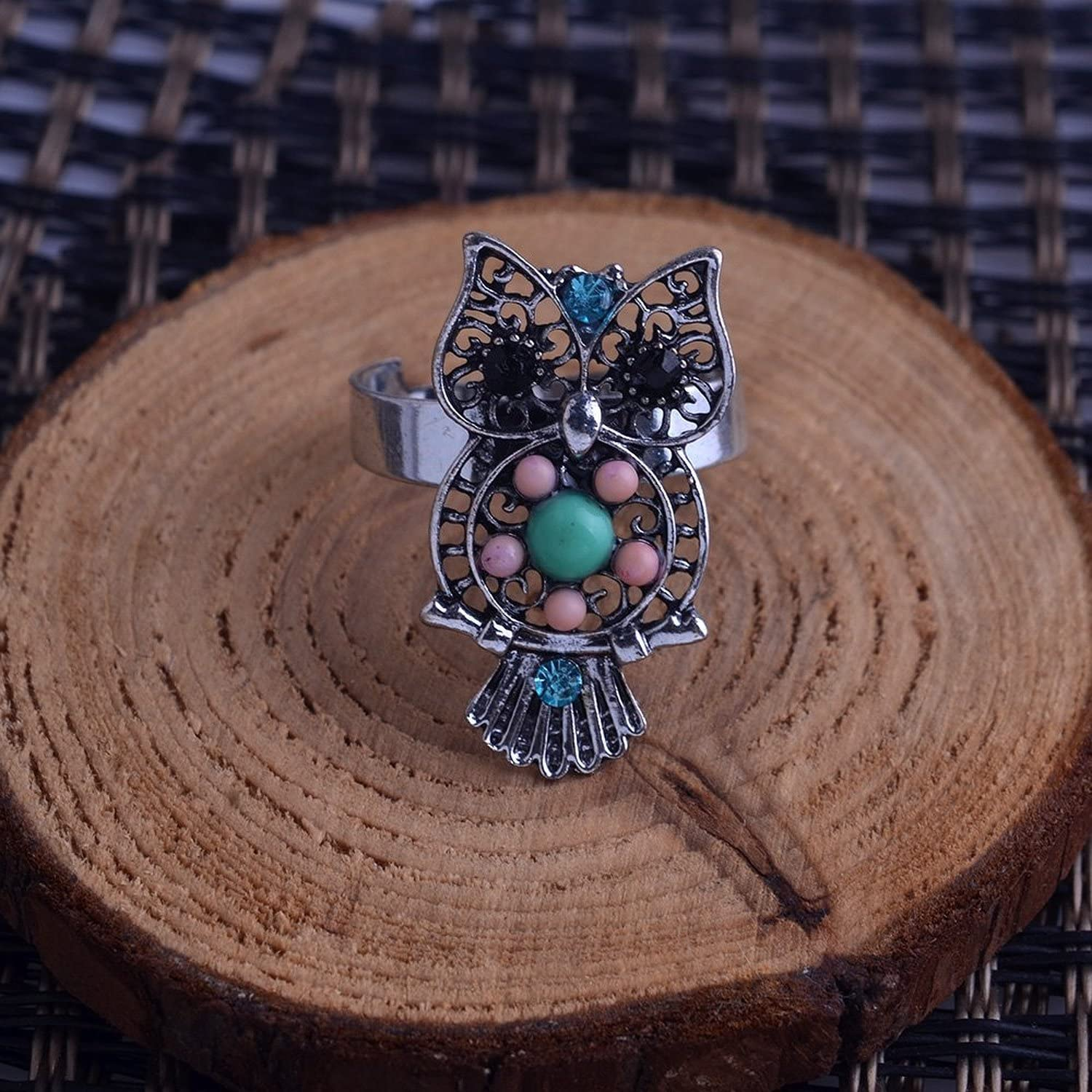 04000767 LUREME Cute Shaped Colors of Beads Girls Jewelry with Crystal Owl Ring
