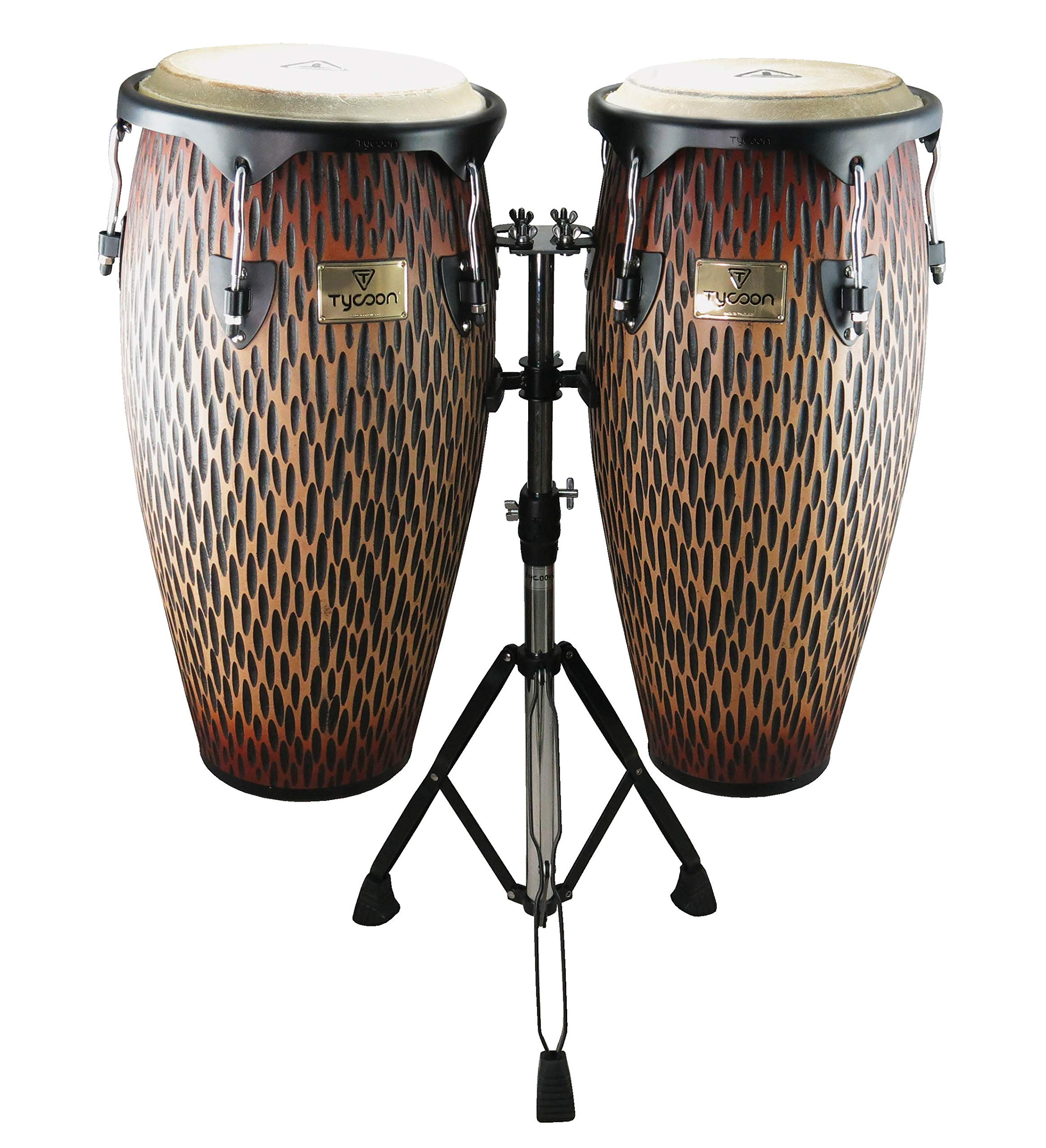 Tycoon Percussion STCS-B CO/D 10-Inch Requinto and 11-Inch Quinto Conga Drum - Chiseled Orange by Tycoon Percussion