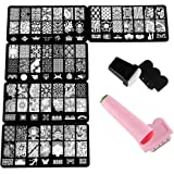 Beauty7 Nail Art Stamps Varnish Stamping 5 Plate + 2 Sets Stamps Seal Scraper Stamp Stencil Metal Image 105 Mixed Designs Print For Nail Manicure
