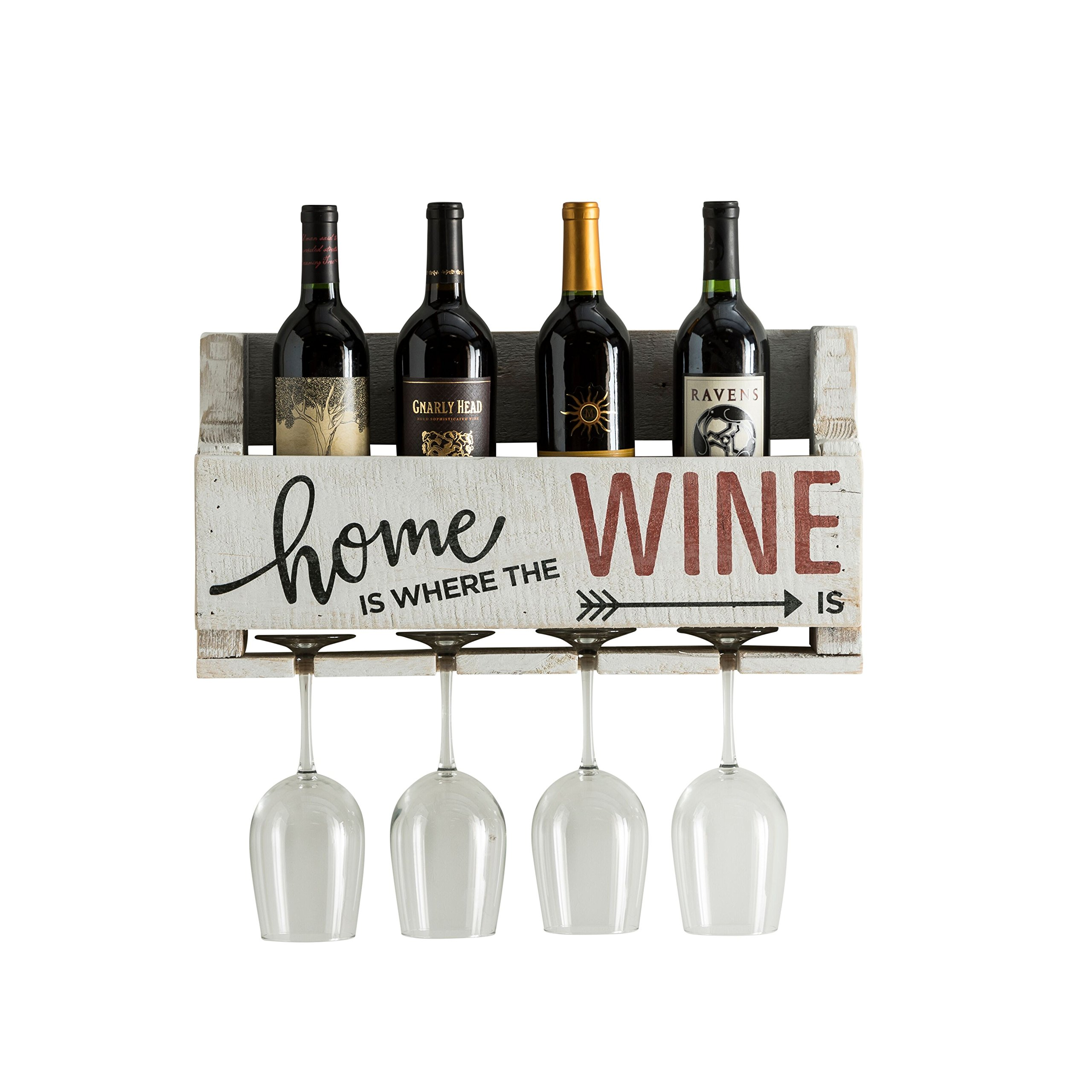 The Little Elm Wine Rack w/Quote 'Home is Where the Wine is', del Hutson Designs - USA Handmade Reclaimed Wood, Wall Mounted, 4 Bottle 4 Long Stem Glass Holder (White)