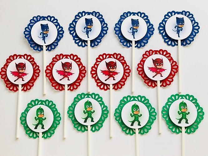 12 PJ MASK Cupcake Topper - Party Picks - Catboy - Gecko - Owlette