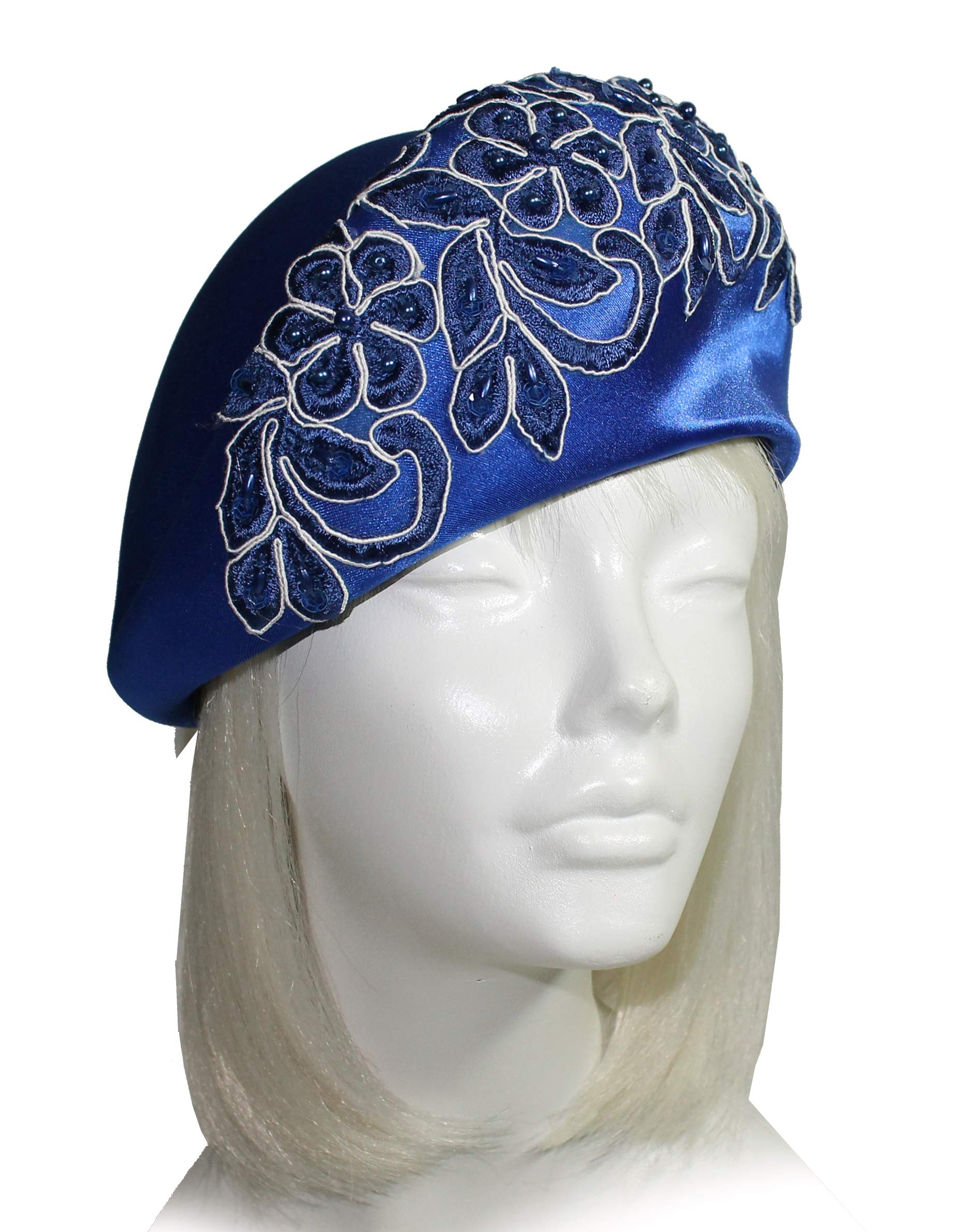 Mr. Song Millinery Satin Beret Cloche Hat with Premium Lace SH41 Sapphire Blue