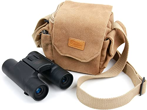 DURAGADGET Light Brown Medium Sized Canvas Carry Bag – Compatible with National Geographic 9025000 10 x 25 Binoculars – with Multiple Pockets Customizable Interior Compartment
