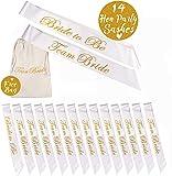 jaunty partyware 14pk Hens Party Sash | 13 Team Bride Hen Party Sashes + 1 Bride Sash | Includes Team Bride Bag and Hen Party Ebook