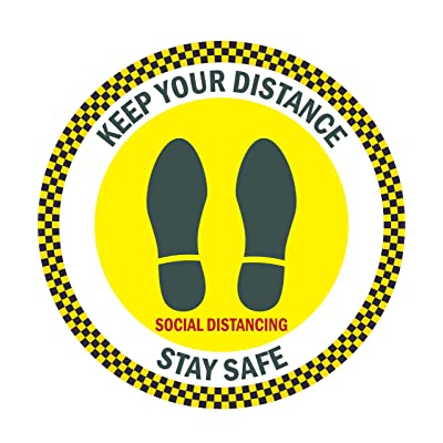 "Social Distancing Sign Decals, 6 Decals Per Pack, 15""x15"" Eye-Catching Coronavirus Sticker, Keep Your Distance Social Distancing Stay Safe, Safety Floor Sign Marker, Floor Graphic Stickers: Arts, Crafts & Sewing"
