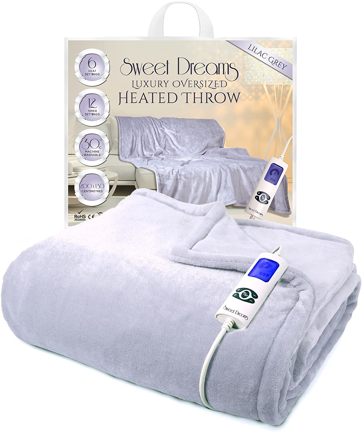 Sweet Dreams Electric Heated Throw / Blanket Luxury Large Oversized 200 x 130cm Overblanket with 6 Heat Settings & 12 Timer Settings (200x130cm, Lilac Grey)