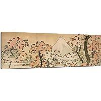 Bilderdepot24 Tela Immagine Panorama Katsushika Hokusai - Antichi Maestri Vista sul Monte Fuji con Fiore ciliegi 160x50cm - Completamente incorniciato, Direttamente dal Produttore