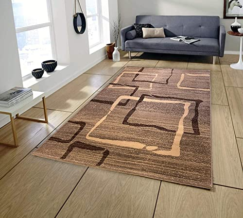 Pyramid D cor Area Rugs, Area Rug, Brown Area Rug, Area rugs Clearance, Rugs for Livingroom, Living Room Rug Clearance, 5×7 area rugs, Free Square Drawings Design Brown