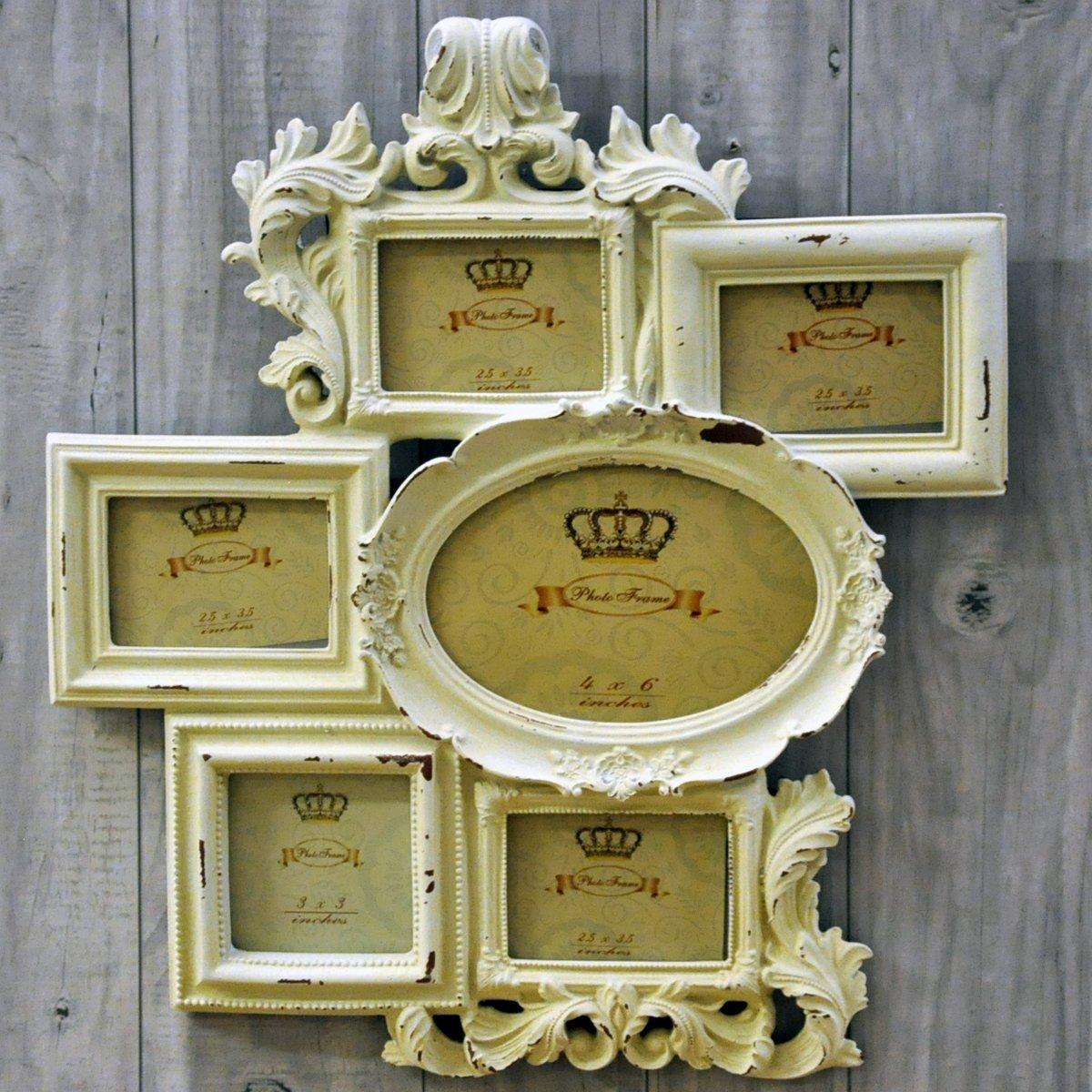 Vintage look shabby chic cream multi photo frame amazon vintage look shabby chic cream multi photo frame amazon kitchen home jeuxipadfo Images