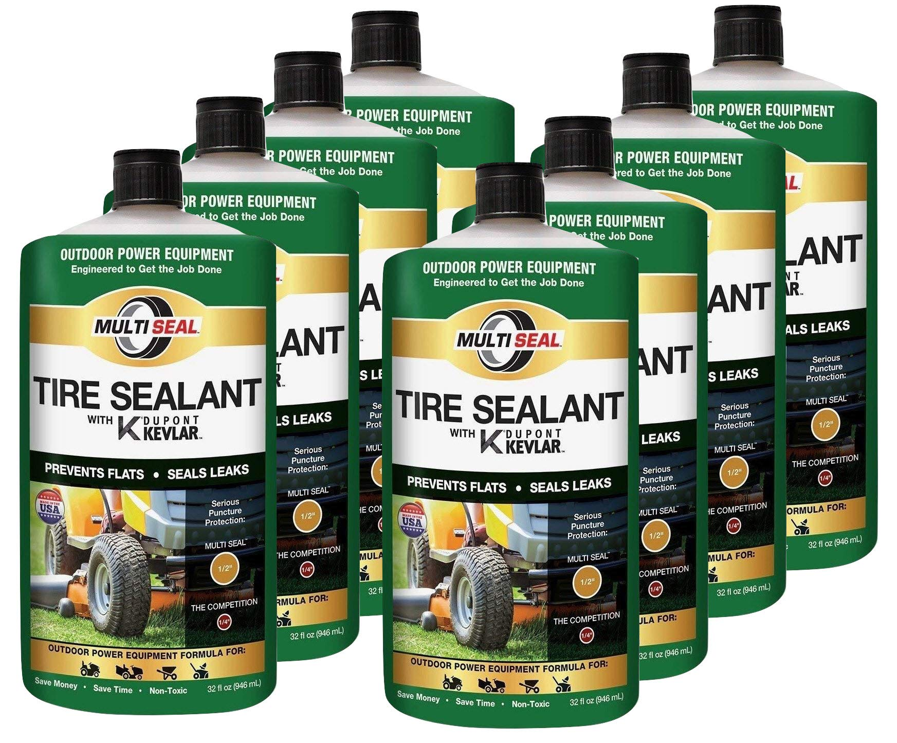 MULTI SEAL 20128 Tire Sealant with Kevlar (Outdoor Power Equipment Formula), Great for Lawn Mowers, Small Tractors, Wheelbarrows, Wood Chippers, Snow Blowers and more, 8-Pack (256 oz.)