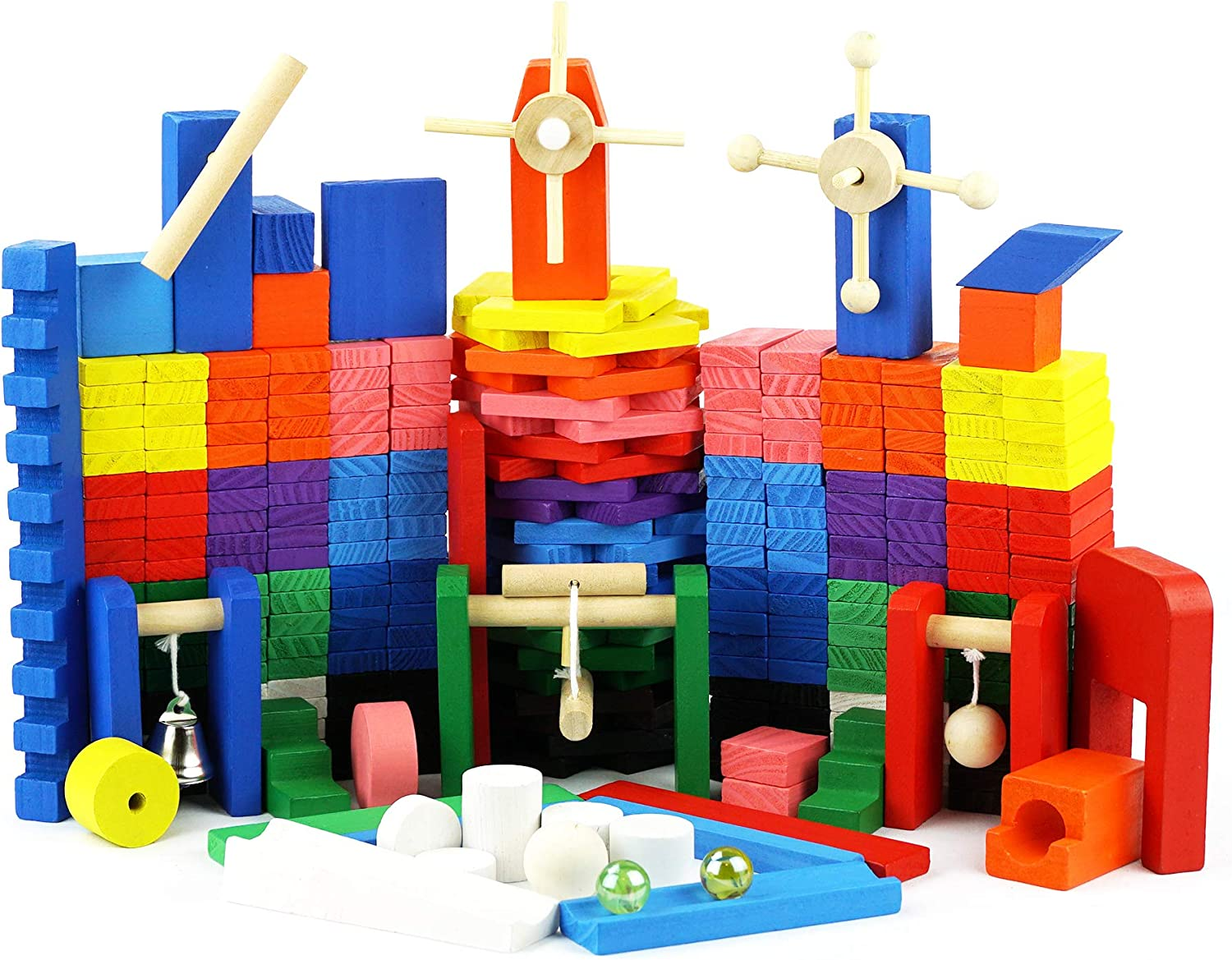 Genius Art 360 Pieces Kids Dominoes + 42 Wooden Blocks to Build Marble Run | Builiding and Stacking Toys