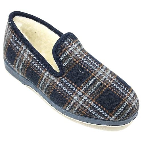 Soca 590 Cuadros - Zapatillas De Estar por Casa Hombre Clásicas Colores Marrón Y Azul Marino Forradas De Lana Natural: Amazon.es: Zapatos y complementos