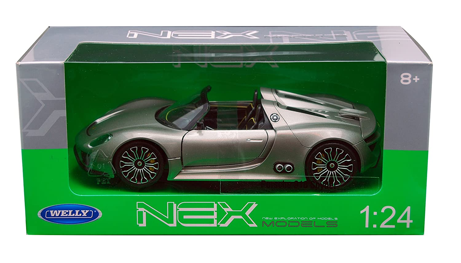 Porsche 918 Spyder met. grey Model Car Ready made Welly 1 24