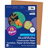Pacon SunWorks Construction Paper, 9-Inches by 12-Inches, 50-Count, Brown (6703)