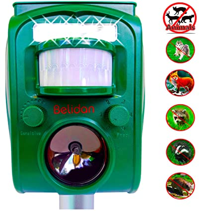 Belidan Animal Repellent Ultrasonic Outdoor Animal Repeller - Dog Rats Raccoon Repellent Skunk Repellent Mice Cat Repellent - Animal Deterrent Device ...