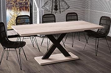 Esstisch ausziehbar design  Esstisch Mila ausziehbar 130cm - 180cm San Remo Eiche hell Küchentisch  Design Säulentisch