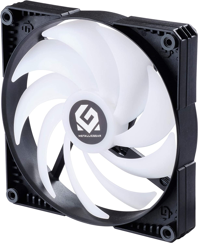 MTALLICGAR MetallicGear SKIRON MG-F140 D-RGB PWM 4-Pin High Airflow D-RGB Fan - Powered By Phanteks 140mm, Black Fan Frame with Matte White Blades