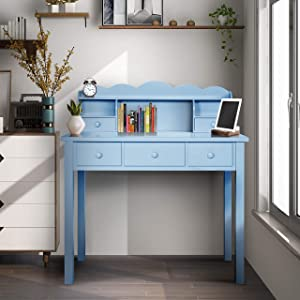 Home Office Furniture Writing Desk,Computer Work Station with Detachable Hutch,5 Drawers (Sky Blue)