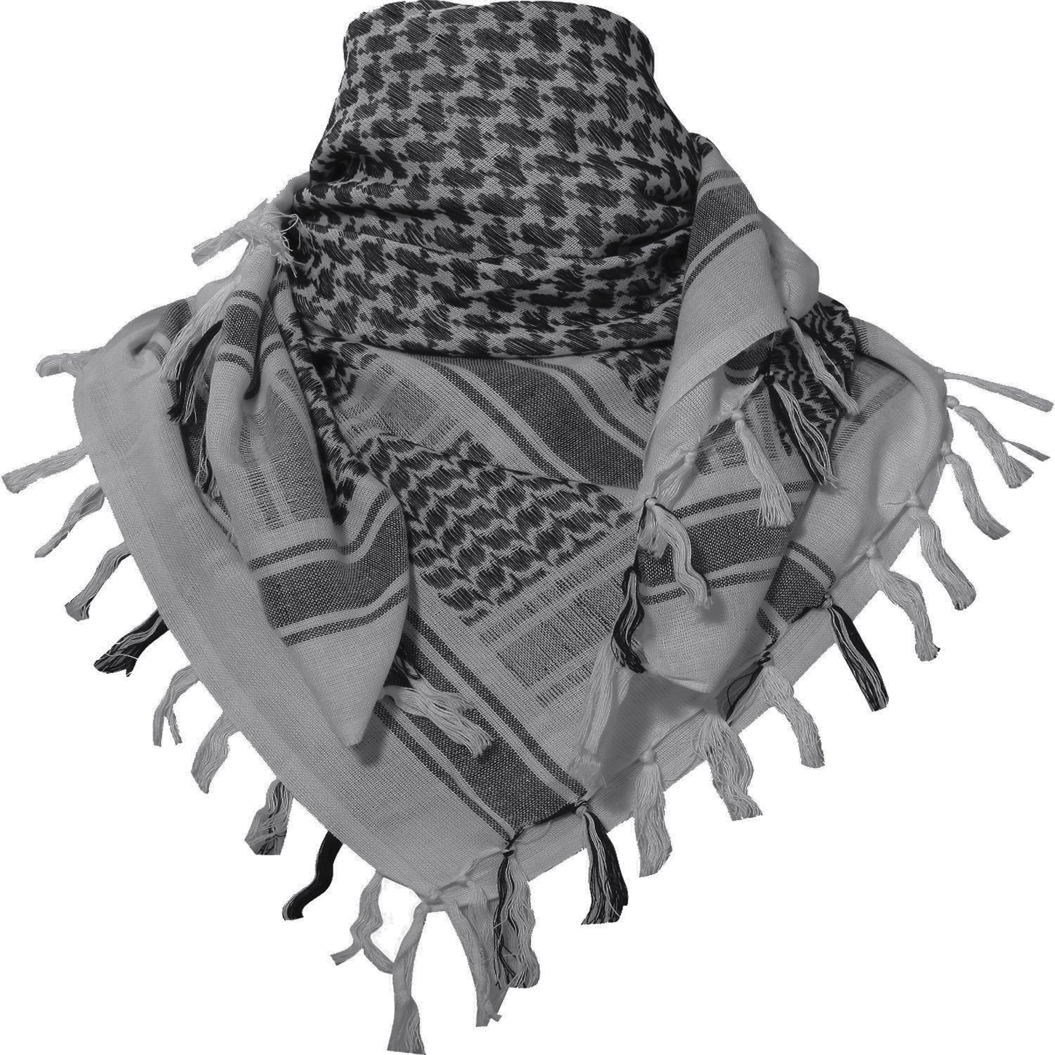 100% Cotton Keffiyeh Tactical Desert Scarf Wrap Shemagh Head Neck Arab Scarf Gray by MAGNIVIT (Image #2)