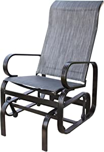 PatioPost Outdoor Porch Glider Patio Chair with Textilene Mesh Fabric Support 350lbs,Black