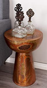 """Deco 79 Industrial Round Hammered Metal Accent Table, 20"""" H x 14"""" L, Textured Copper Finish"""