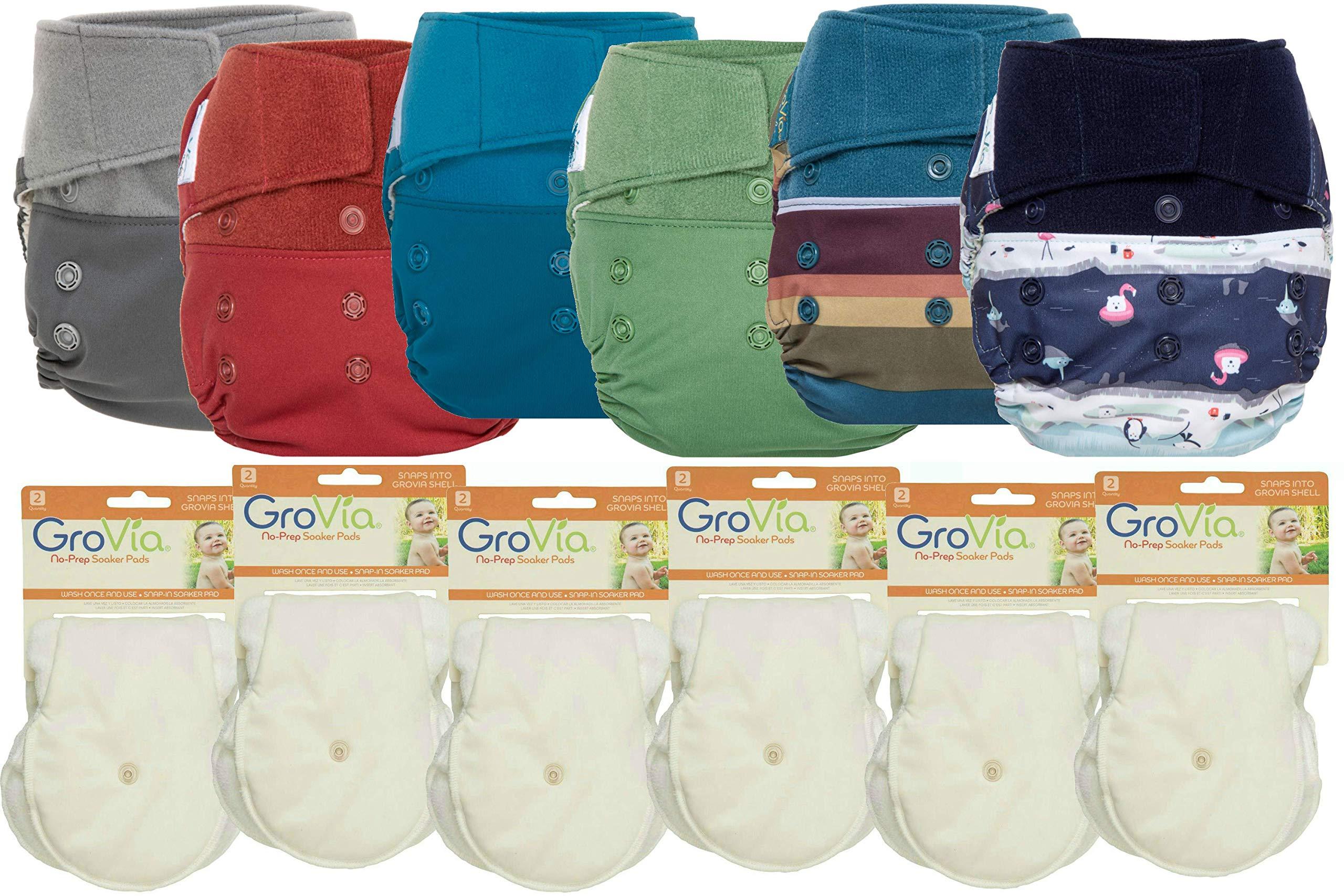 GroVia Hybrid Part Time Package: 6 Shells + 12 No Prep Soaker Pads (Color Mix 1 - Hook & Loop)