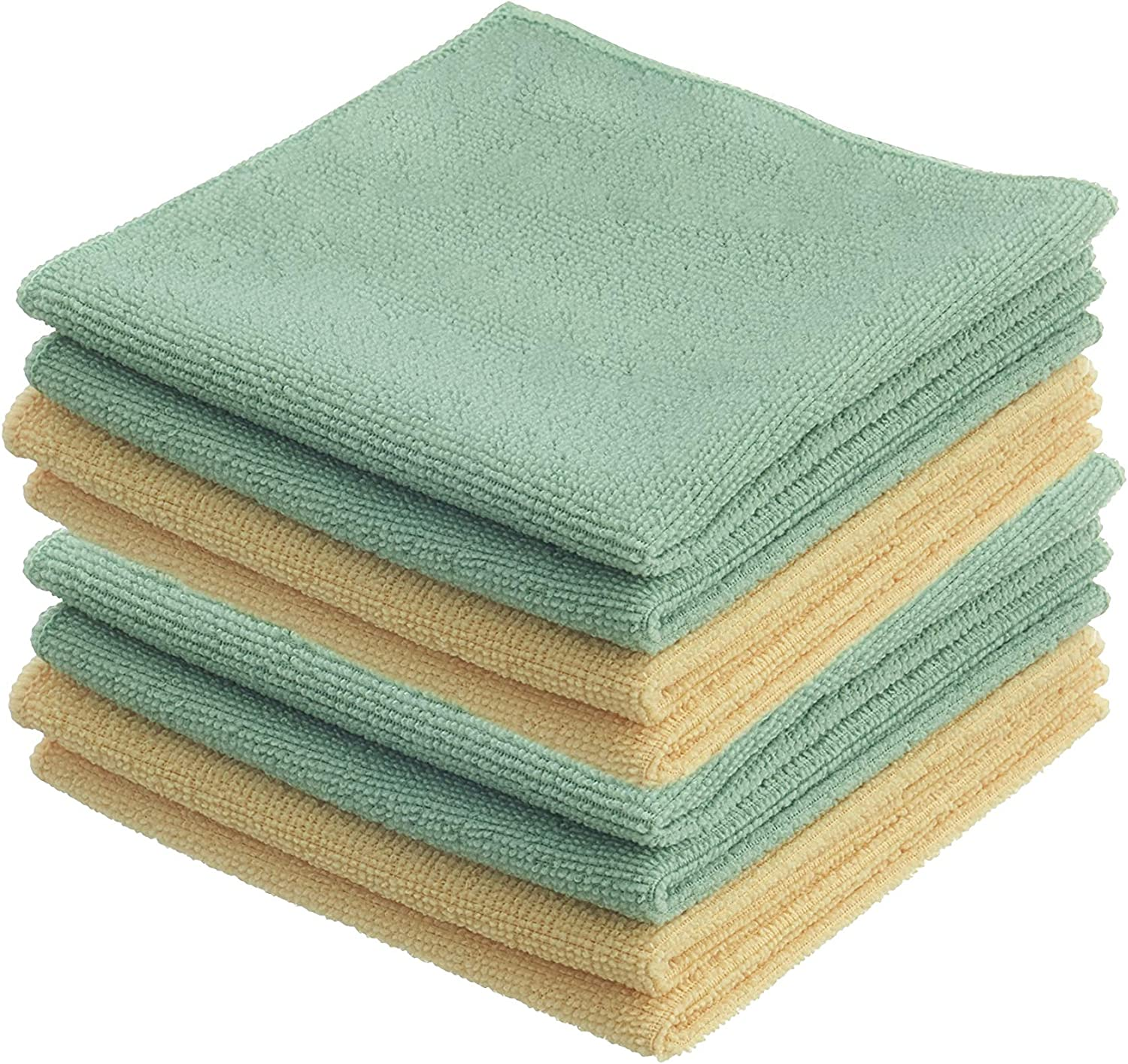 Superio Microfiber Cloths for Cleaning 12 Inch Towels (8 Pack) Ultra Micro Fiber Yellow/Green Washing Cloths, Auto, Home, Office, Kitchen Dish Wash Dust Cloths Glass Sparkle, Scratch Free