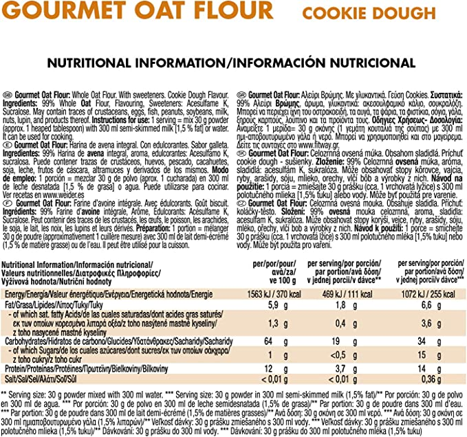 Weider Oat Gourmet. Harina de Avena Integral. Fuente de proteína con bajo contenido en azúcares. Sabor Cookie Dough (1,9 kg)