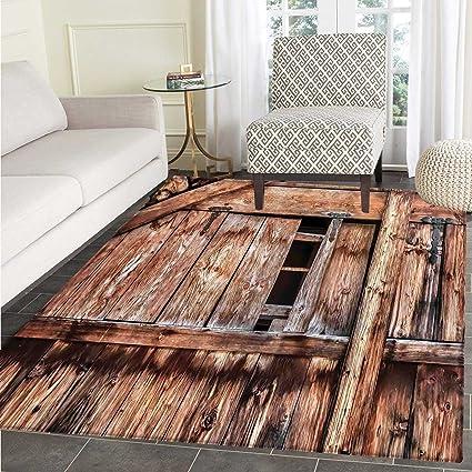 Amazon Rustic Rugs For Bedroom Abandoned Damaged Oak Barn Door