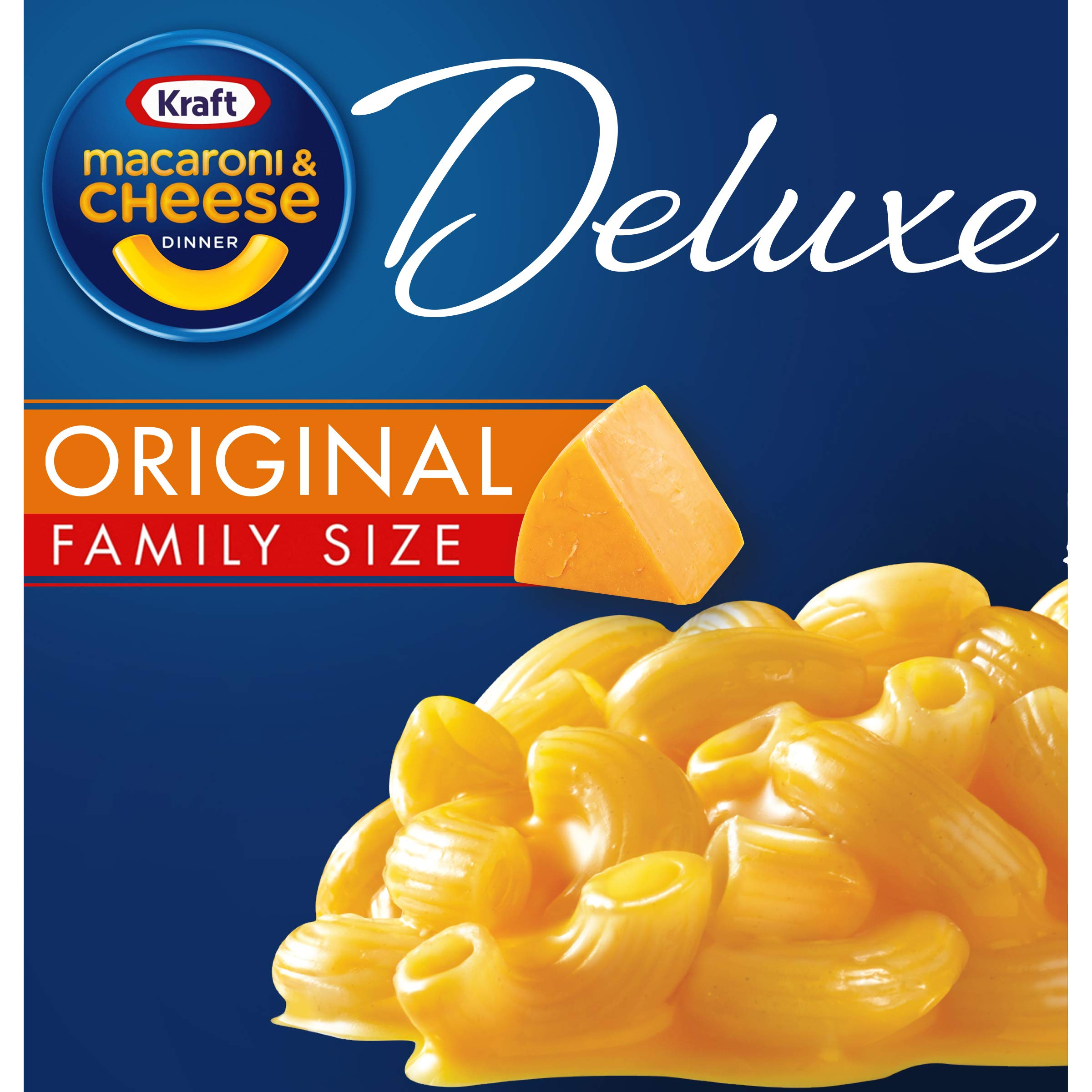 Kraft Deluxe Original Cheddar Family Size Macaroni and Cheese Meal (24 oz Boxes, Pack of 3)